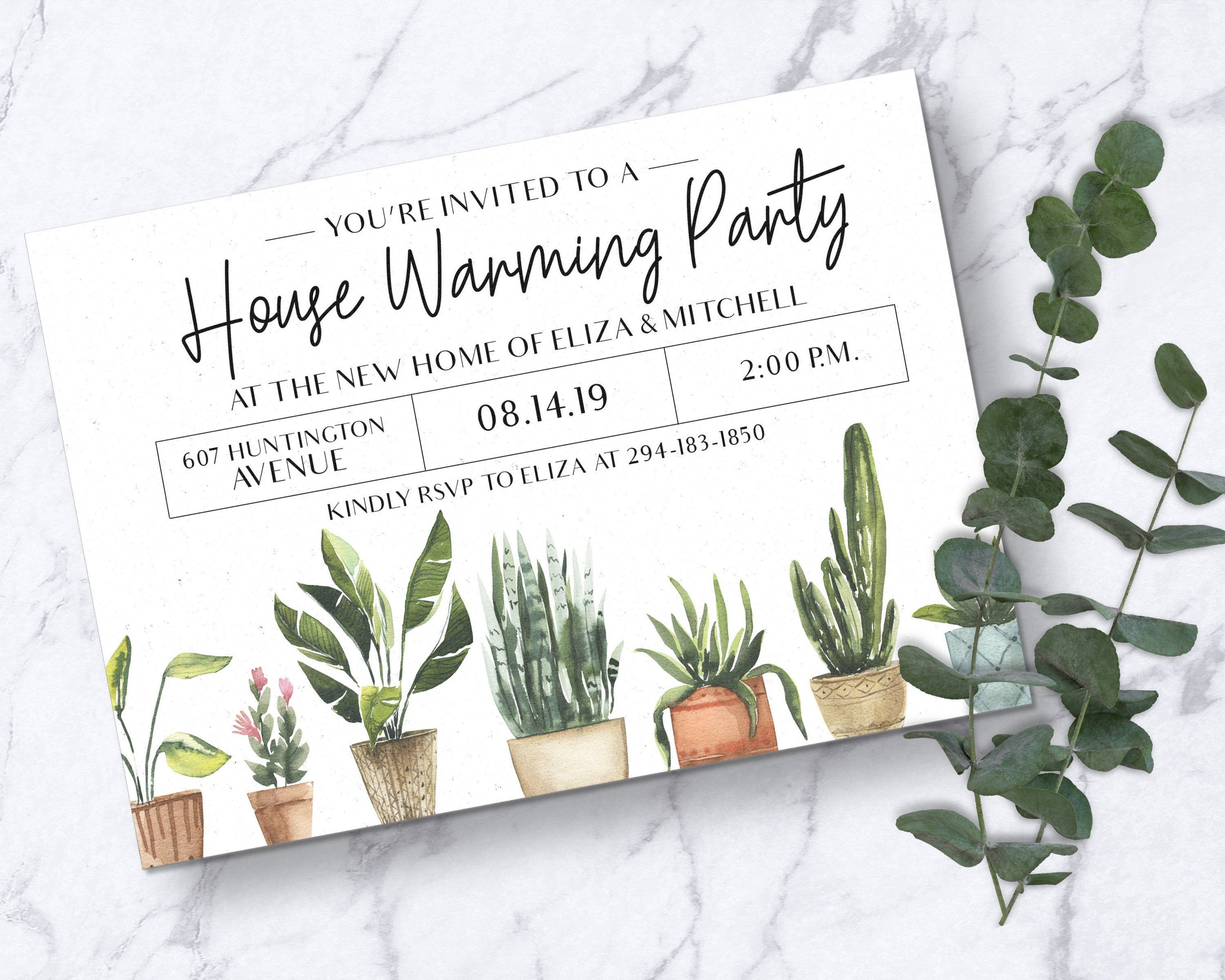 Instant Download Botanical Plants Modern Housewarming Party