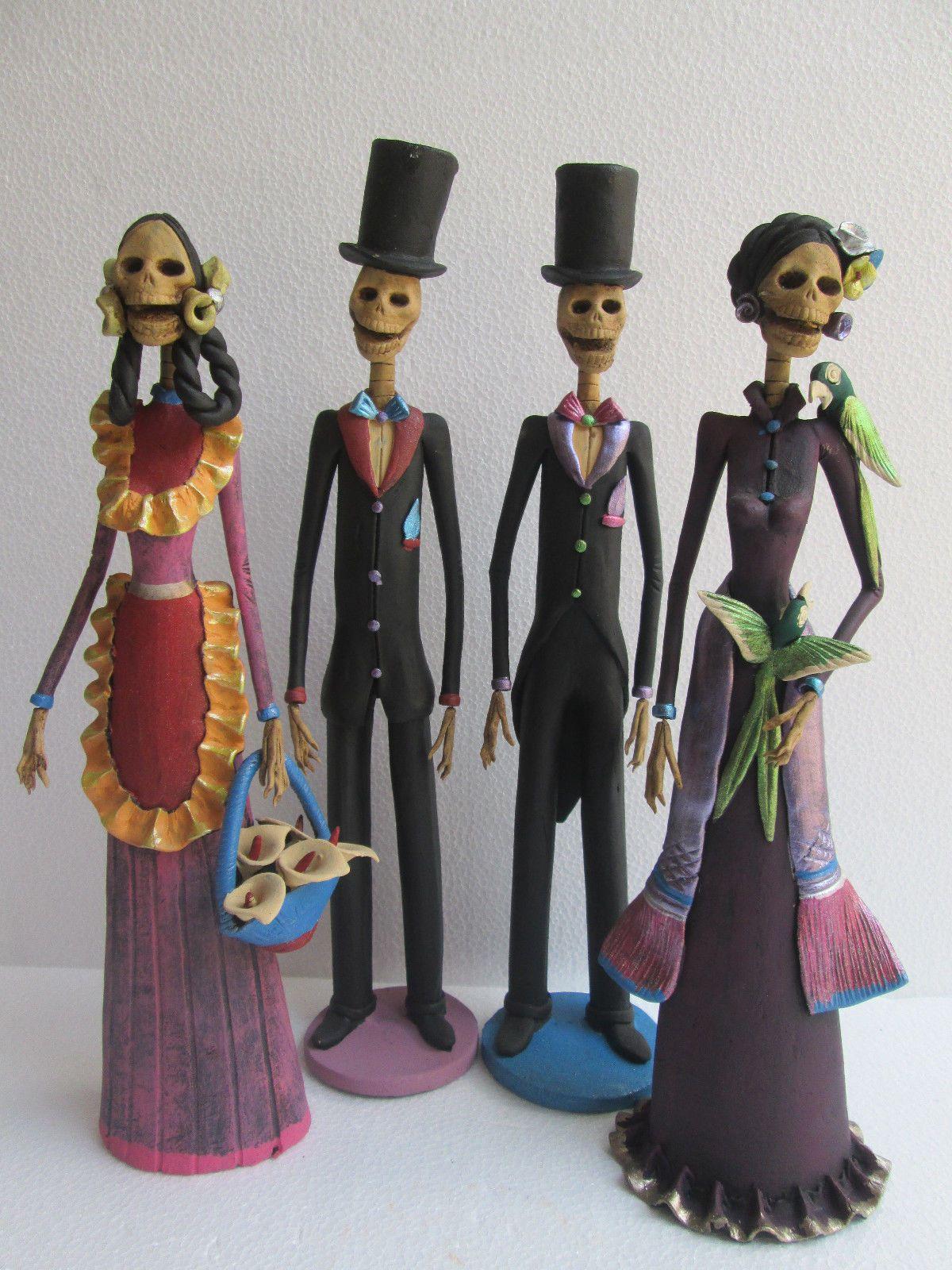4 Catrina Set Mexican Folk Art Day of The Dead Catrina Lot Wholesale Large | eBay