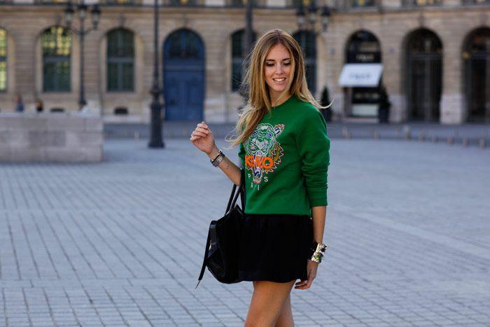 fe5dd979e Chiara Ferragni of The Blonde Salad wearing Kenzo green tiger novelty  sweatshirt for #fall2012 Michael