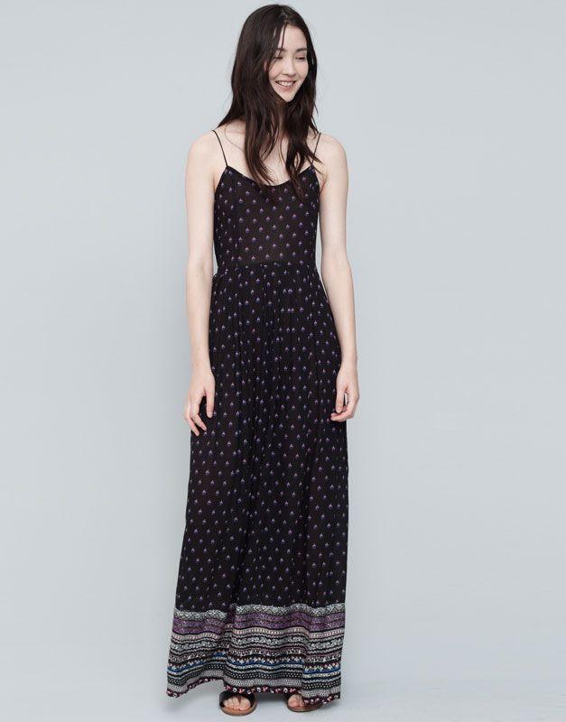 ab690752d Pull Bear - mujer - vestidos - vestido largo cenefas en bajo - negro -  09392309-I2015