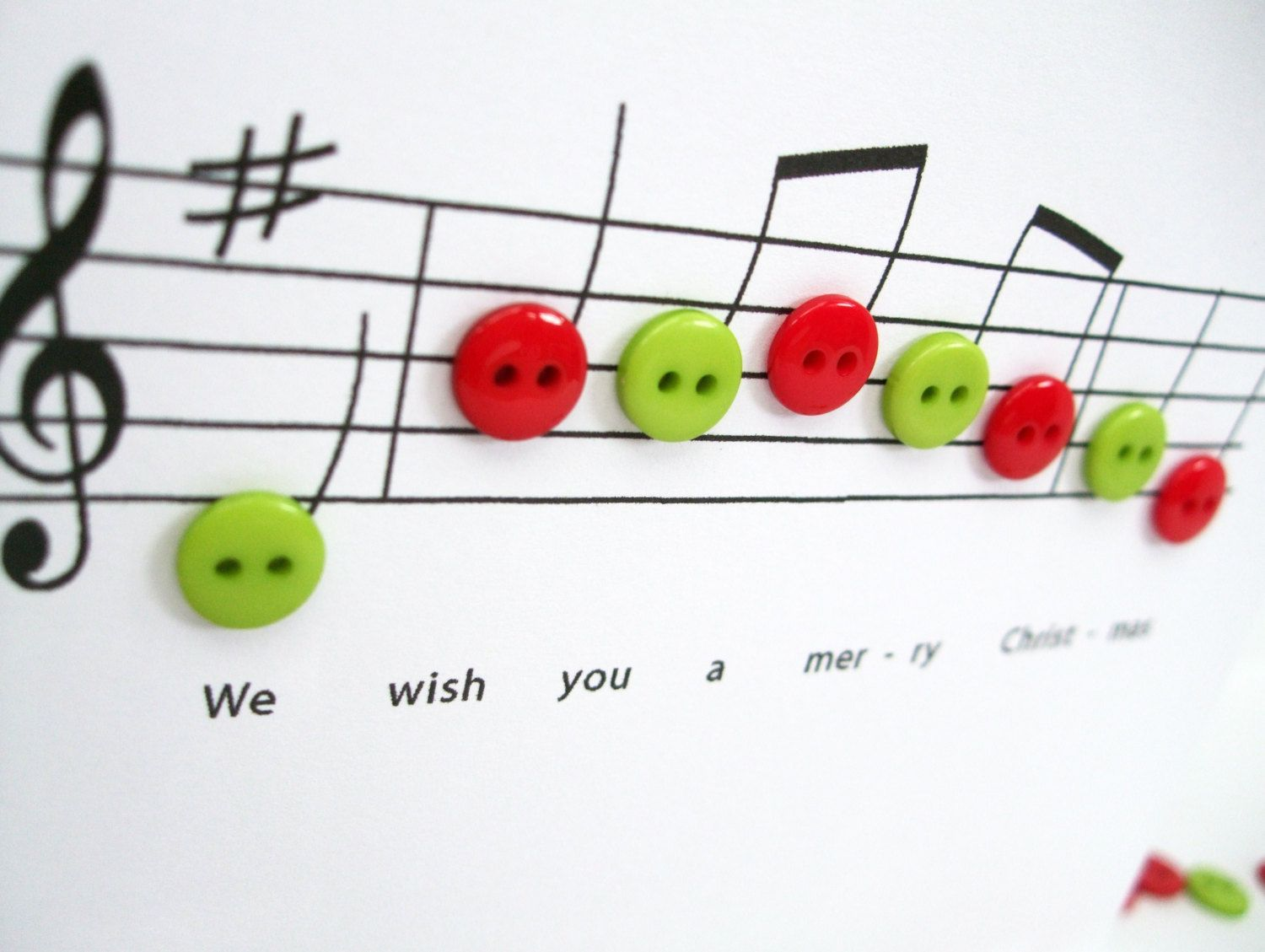 Christmas Card - Christmas Music with Button Notes - Paper Handmade ...