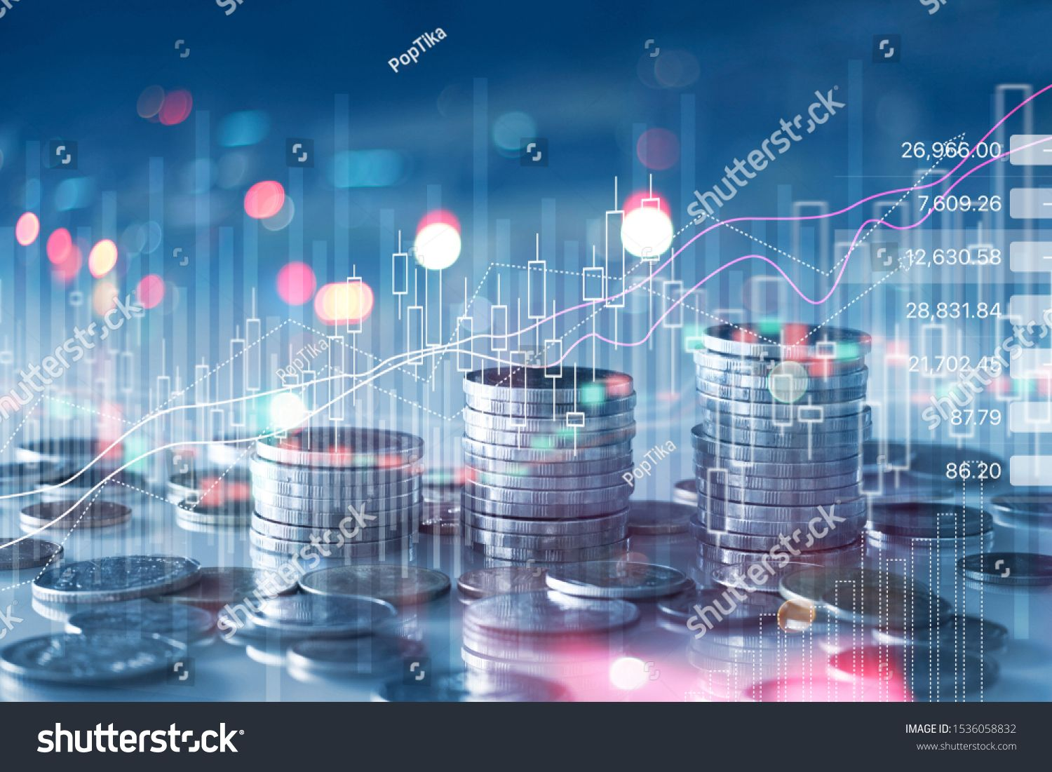 Financial Stock Market Graph And Rows Of Coins Growth Abstract And Symbol For Finance Concept Business In In 2020 Stock Market Graph Stock Market Business Investment