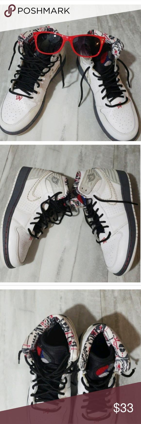 89af0a4d742de6 Nike Air Jordan Boys Size 4 White Red Gray Black Nike Air Jordan Boys Size 4