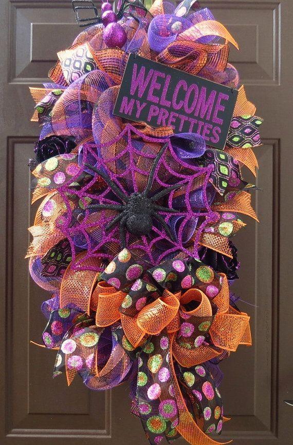 Halloween Deco Mesh Wreath Swag Spider Deco By Festivalofwreaths