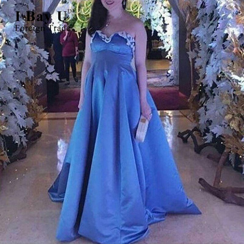 I Bay U Blue Satin Prom Dresses Maternity Applique Sweetheart