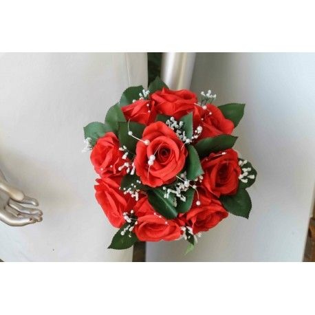 Bouquet Mariée Rond avec belles Roses Rouges, Gypsophile, perles