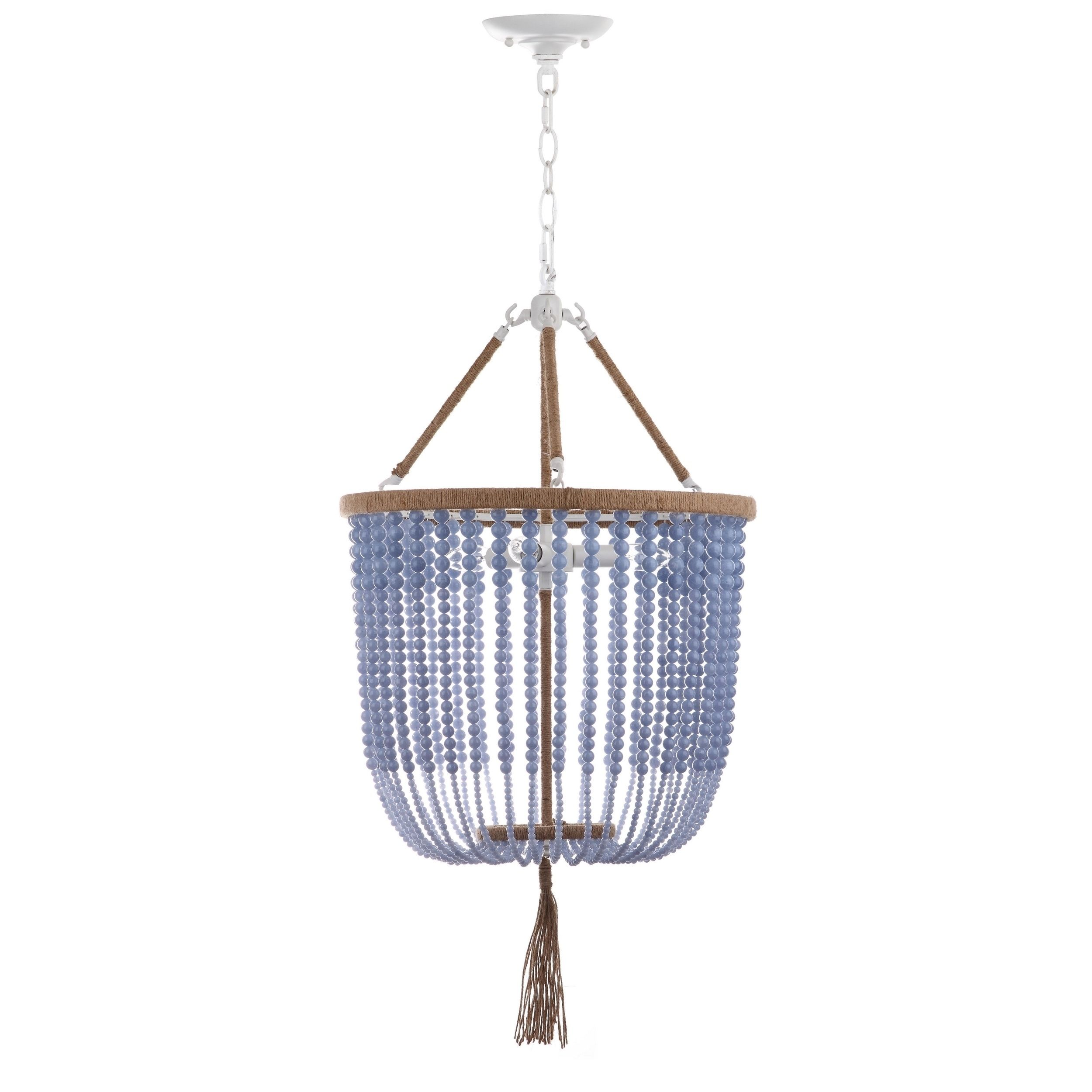 Overstock Pendant Lights Captivating Safavieh Lighting 18Inch Adjustable Beaded 3Light Angie Blue Design Ideas