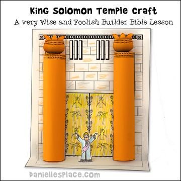 King solomon 39 s temple with 3d pillars bible craft for for Building the tabernacle craft