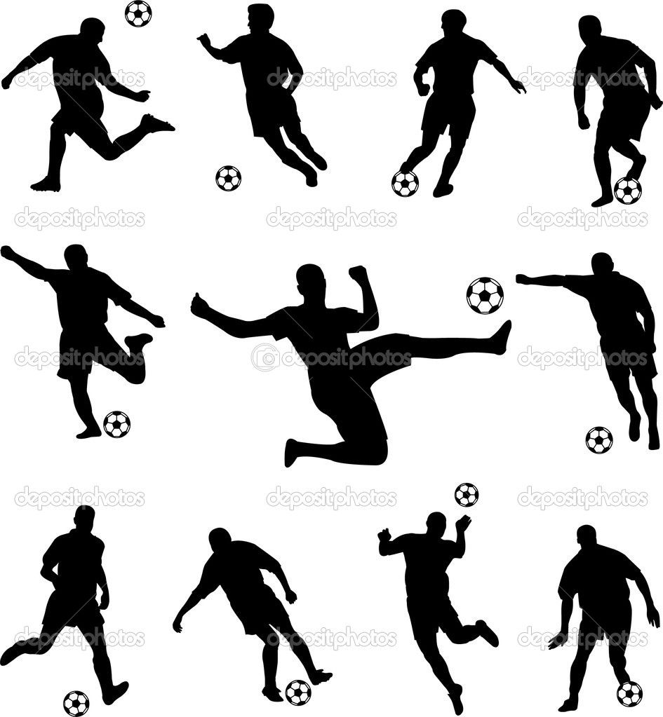 Football Silhouette Clipart Soccer players silhouettes