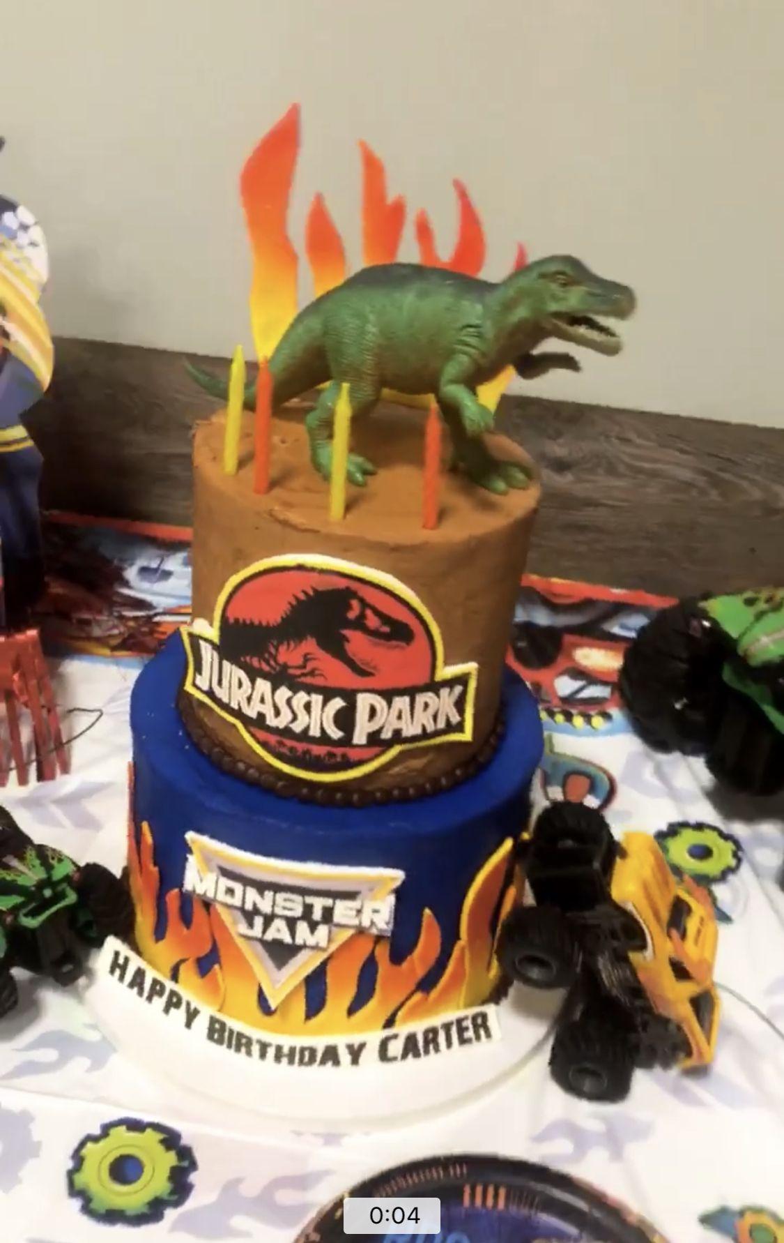 Dinosaur And Monster Trucks Cake Monster Truck Cake Monster Truck Birthday Monster Trucks