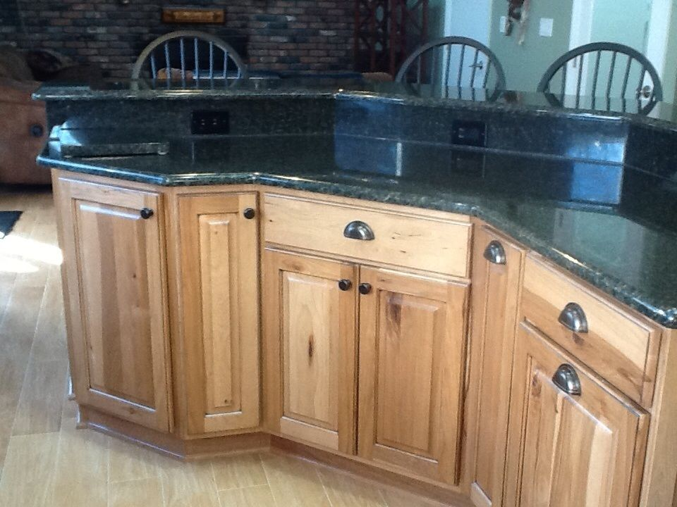Hickory Kitchen Island Cabinets Uba Tuba Granite Porcelain Wood