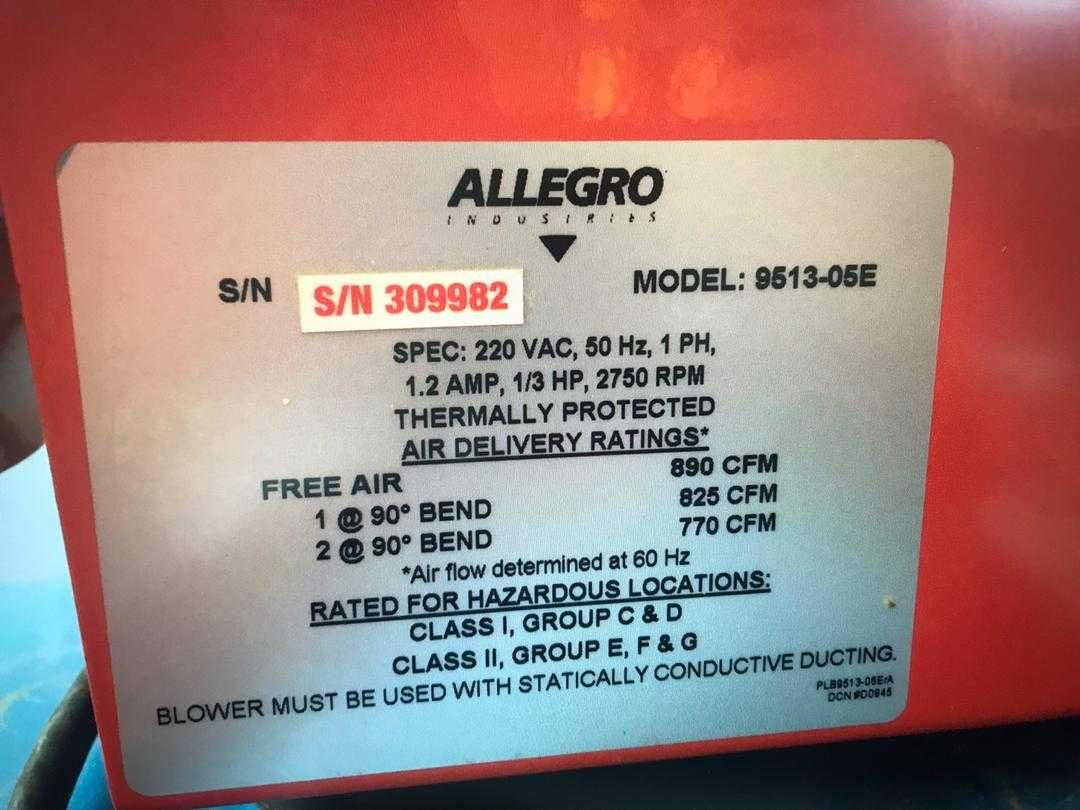 Allegro 9513 05e 8 Ac Axial Explosion Proof Blower Ventilation