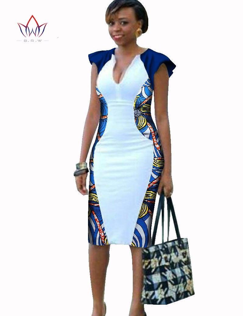 753aaa6a4949d Robe africaine Femmes Profond Col V Moulante Robe Plus La Taille Africaine  Vêtements Genou Longueur Robe