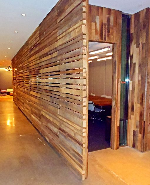 Pioneer millworks reclaimed hardwoods as wall paneling Reclaimed wood flooring portland