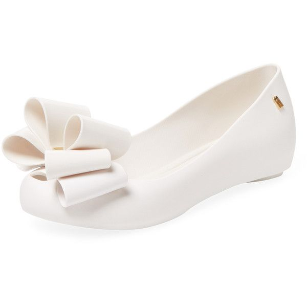 Melissa Women's Ultragirl Sweet Bow Ballet Flat - White - Size 9 ($59) ❤ liked on Polyvore featuring shoes, flats, white, skimmer flats, white flats, white bow flats, bow flats and white ballerina shoes