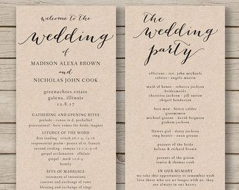 Awesome Wedding Program Template   Printable Wedding Program   DIY Editable Order  Of Service   EDITABLE By YOU In Word   Print On Kraft For Order Of Service Template Free