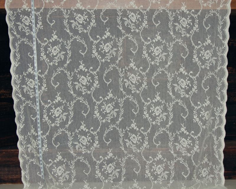 Rose Scroll Nottingham Lace Curtain Fabric Creme From Brick House