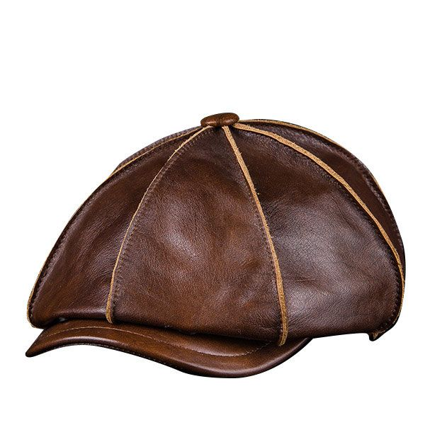 Men s Genuine Leather Warm Octagonal Cap Casual Vintage Newsboy Cap Golf Driving  Hat a8016186dc7