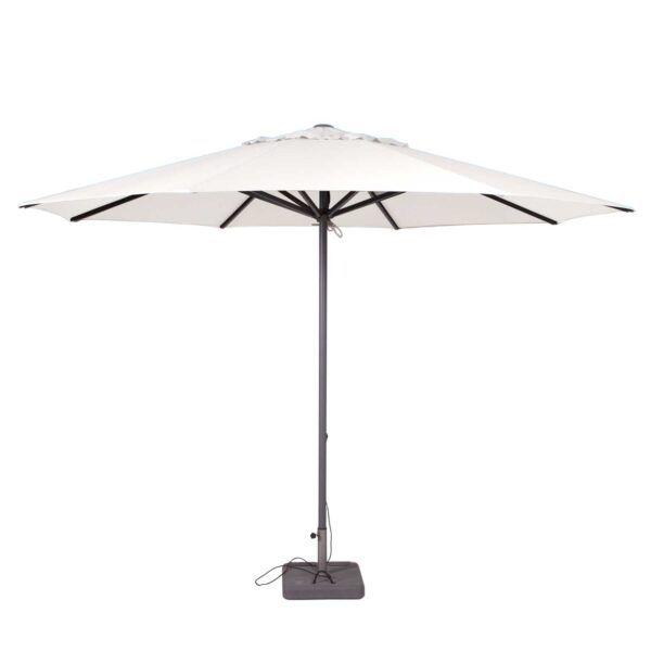 Deze ronde stokparasol heeft een zeer gunstige prijs/kwaliteit-verhouding. De parasol heeft een doorsnede van 400cm en is beschikbaar in 8 verschillende kleuren. De parasol is voorzien van een sterk aluminium frame met een stokdikte van maar liefst 50mm. De baleinen zijn aan de uiteindes vastgeschroefd,... Het bericht Parasol Lima 400cm rond (Off white) verscheen eerst op Meubelen.nl.
