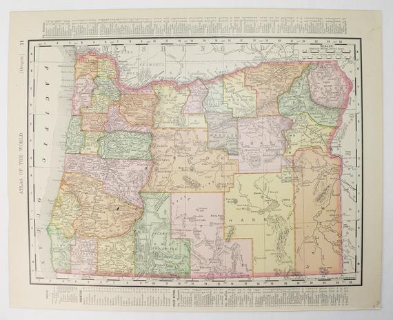1900 Rand McNally Oregon and Washington Map, Original ... Randy Mcnally State Maps on brown maps, white maps, united states maps, motorcycle road maps,