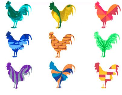 The stylized roosters