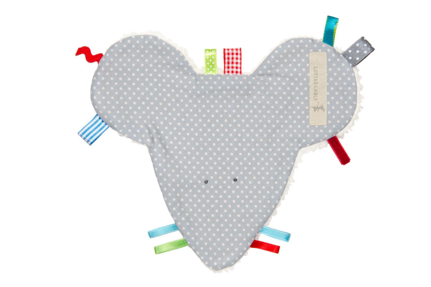Liebevoll gestaltetes Fühltuch von Lottas Lable für Ihr Baby, welches die Sinne Ihres Baby weckt. Durch verschiedene kleine Lable- Etiketten, eingenähte Knisterfolie und weichem Teddystoff auf der...