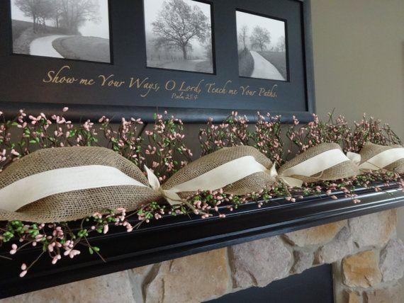 Spring Garland Summer Garland Mantle Garland Berry Garland Spring Decoration Burlap Garland Easter Garlan Mantle Garland Fireplace Garland Burlap Garland