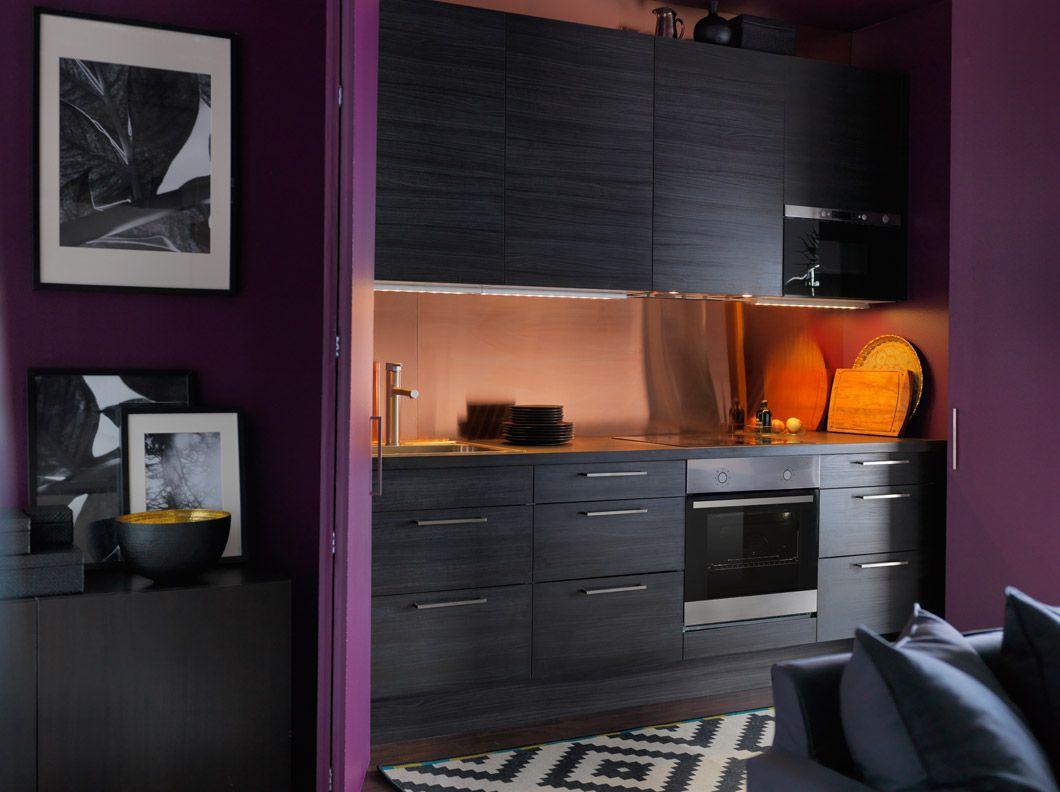 Cucina FAKTUM con ante/frontali cassetto GNOSJÖ effetto legno nero e ...