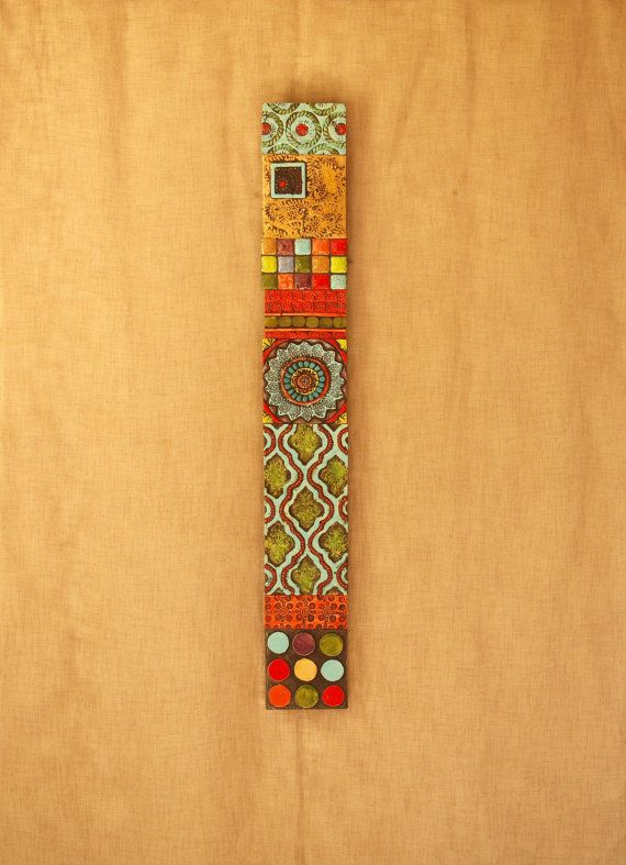 Stick Wall Art Pattern Texture Clay Tile Mounted Colorful Pottery Mosaic Rustic Patterned Narrow Vertical