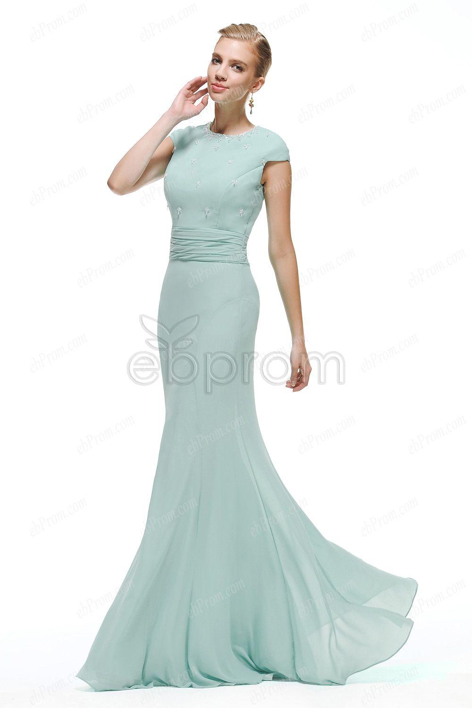 Modest Duck egg blue bridesmaid dresses long | My Style | Pinterest ...