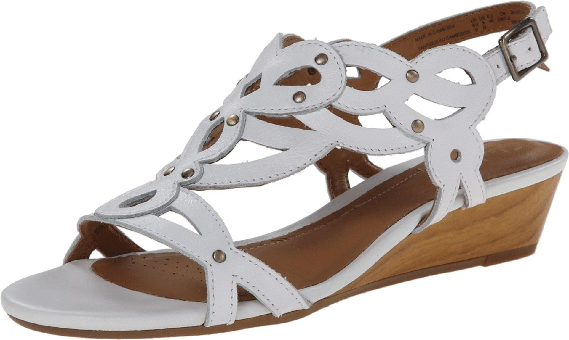Clarks Women's Playful Tunes Low Wedge Sandals,White Leather,9.5. Women's  Clarks,