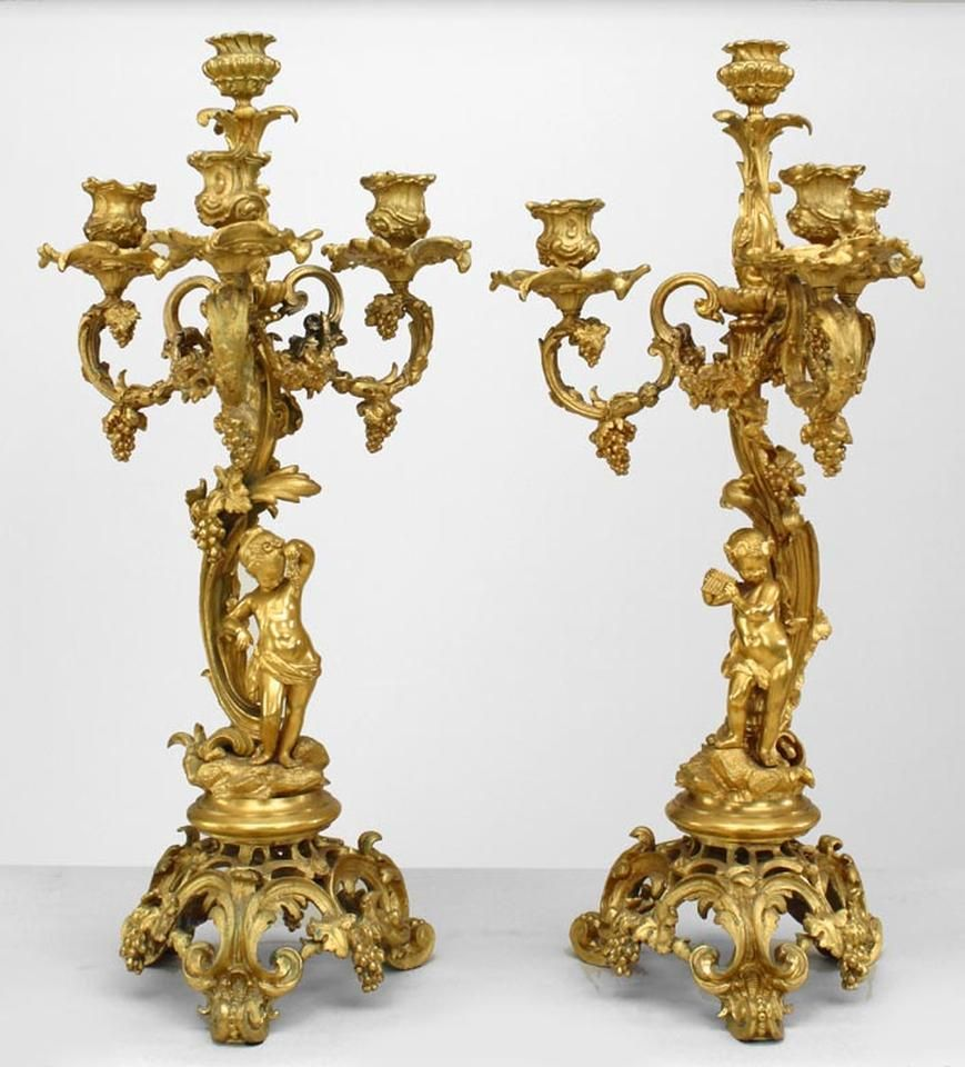 French Louis XV accessories candelabra bronze dore