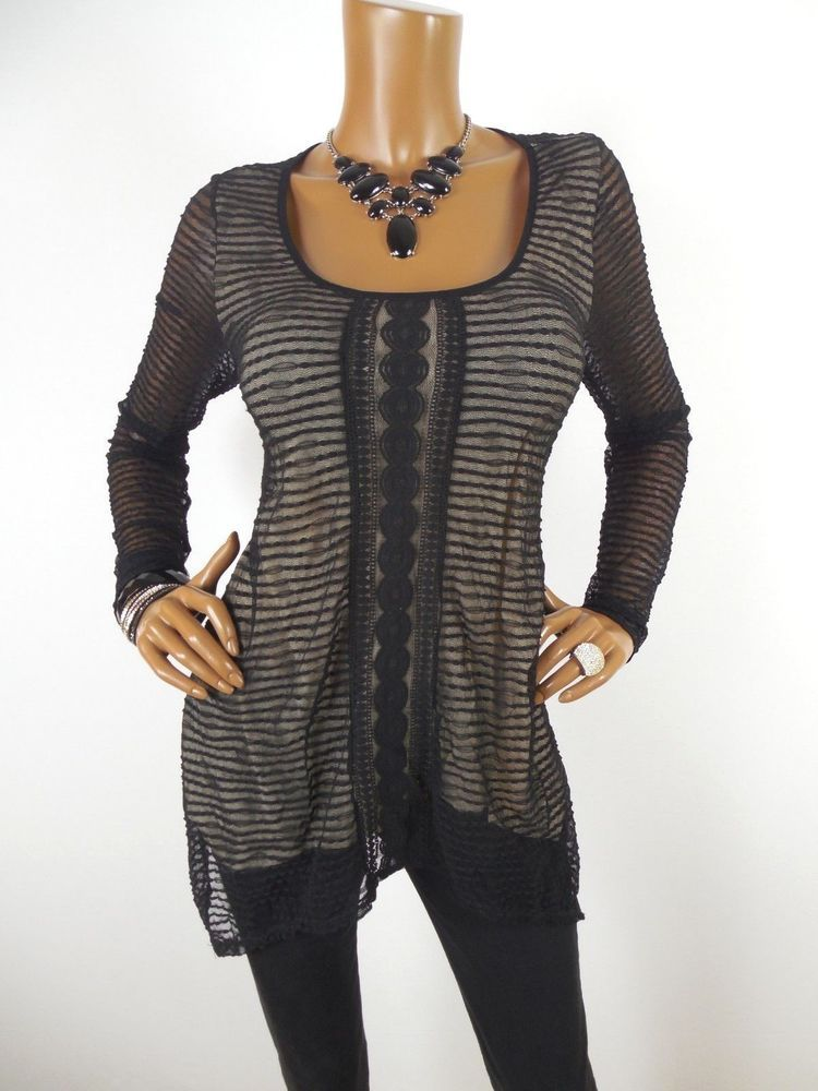 8b79db55c68 MAX STUDIO Womens Top M SEXY Black Mesh Shirt Beige Lined Asymmetrical Hem  Loose #MaxStudio #Blouse #Casual