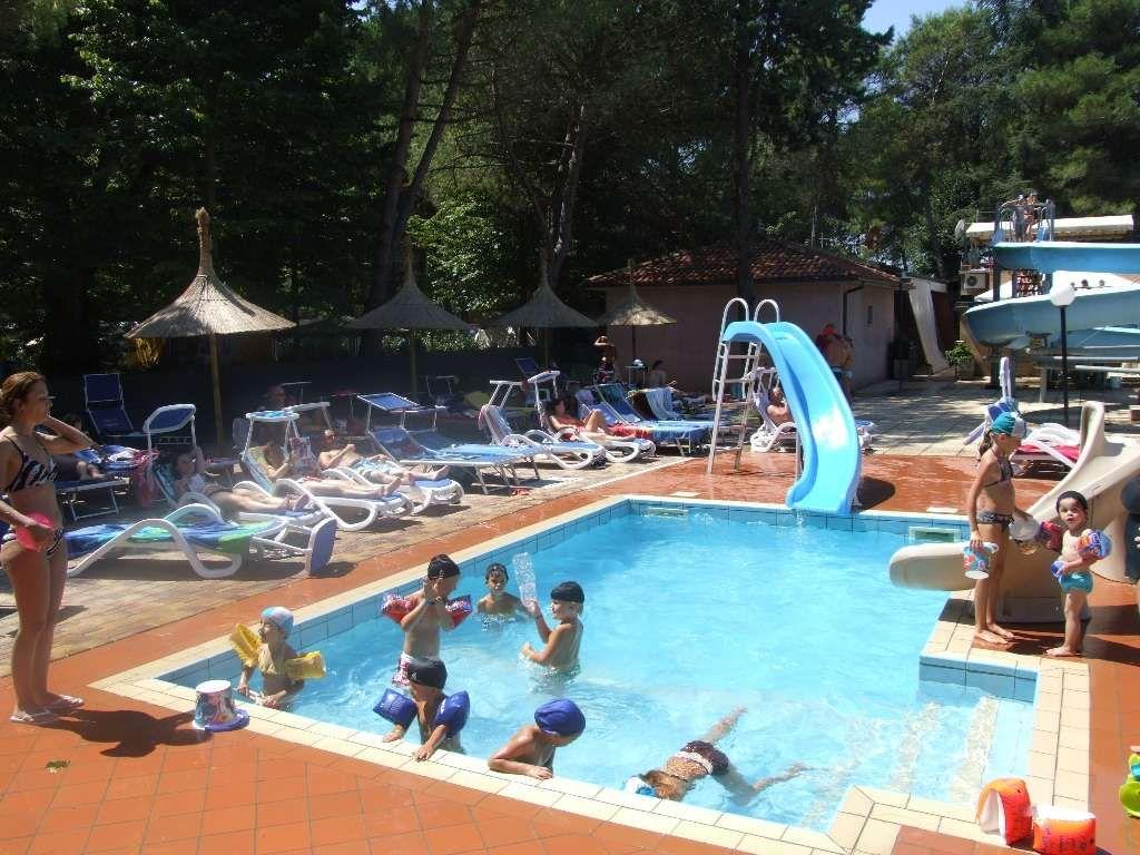 1 kinderzwembad met 1 waterglijbaan en 1 gewone glijbaan