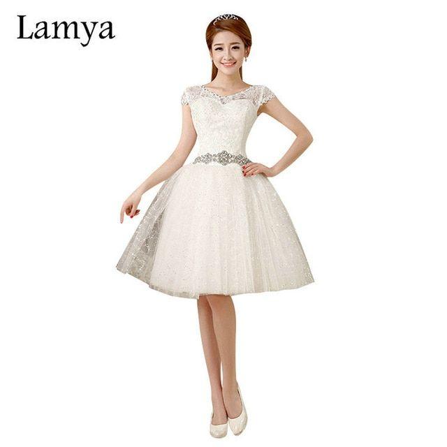 5d258be3c3e Lamya Lace Short Crystal Wedding Dresses Romantic 2019 Fashionable Bridal  Gown Sashes Vestido de noiva Review