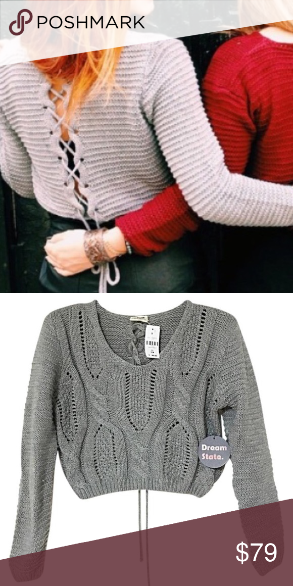1ec223d139 LF M L Dream State Crop Lace Up Back Cable Sweater LF Dream State Crop Lace  Back Sweater V Neck New With Tags  148 Size M L Lace Up Tie Back Dream  State ...