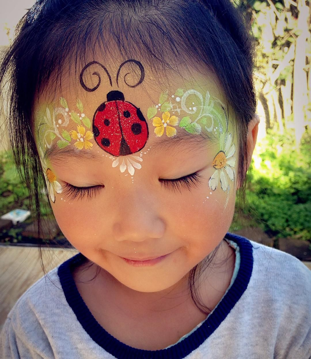 I Miss Spring Spring Please Comeback Facepainting Faceart Ladybug Daisy Girl Face Painting Face Painting Designs Ladybug Face Paint