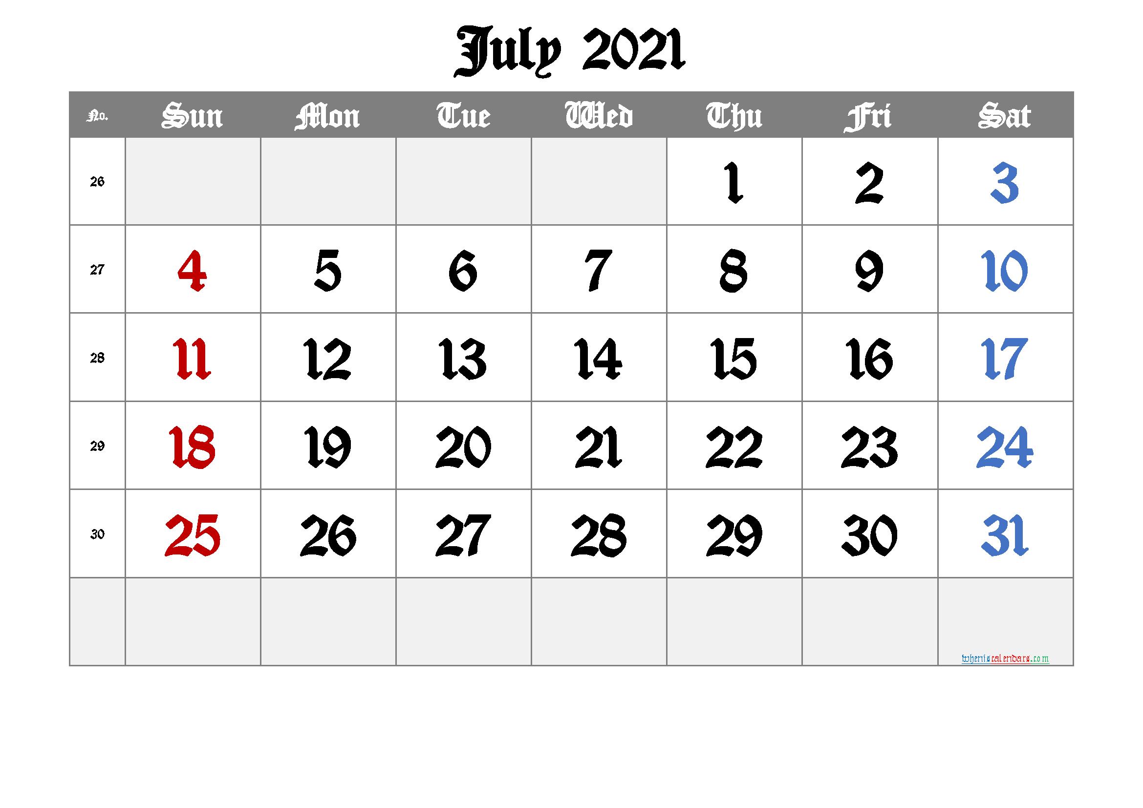 2021 July Free Printable Calendar Free Premium In 2020 Calendar Printables June Calendar Printable Printable Calendar July