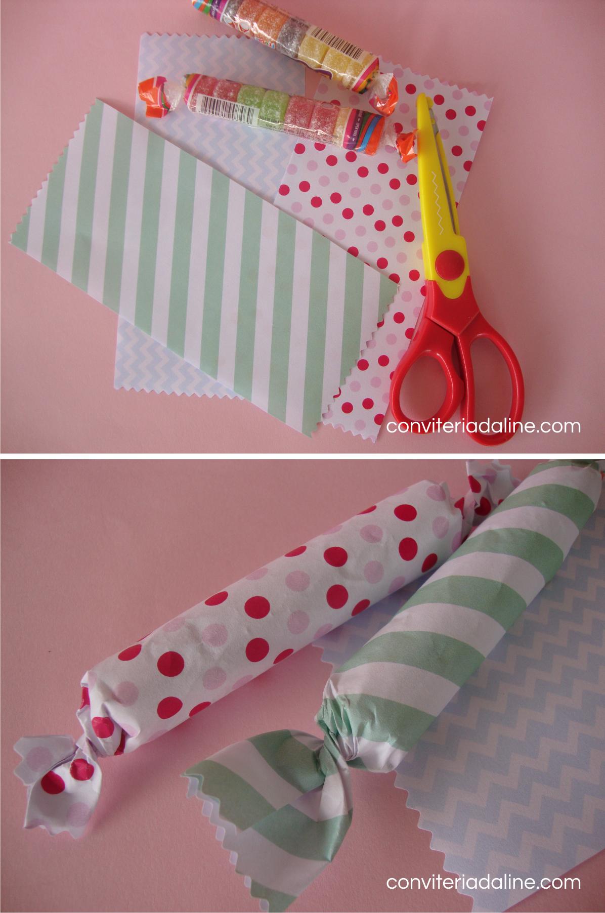 Papel colorido + balinhas de gomas = lembrança linda e fofa para alegrar a criançada! Vejam mais DIY em: blog.conviteriadaline.com.br