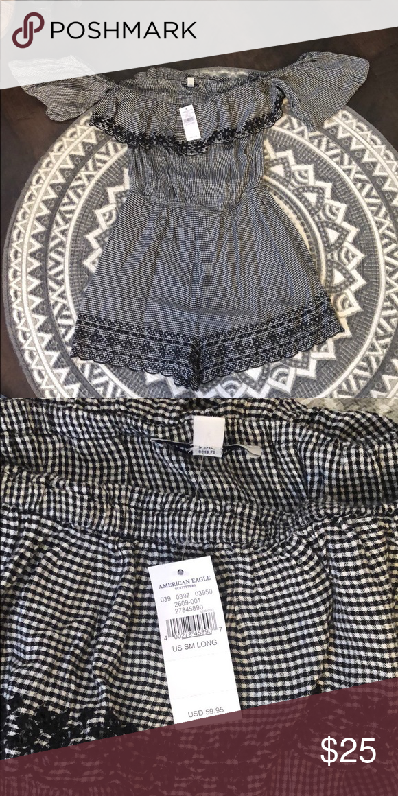 7649a989cbf Off the shoulder romper NWT plaid and lace off the shoulder romper American  Eagle Outfitters Other