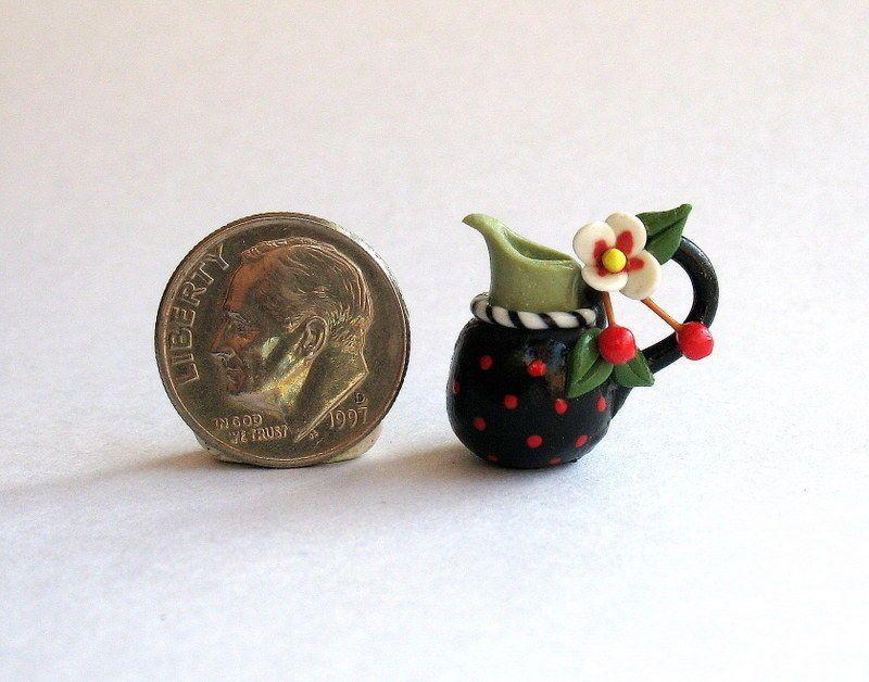 Handmade Miniature ME CHERRY TWO TONE PITCHER - by C. Rohal #CRohal