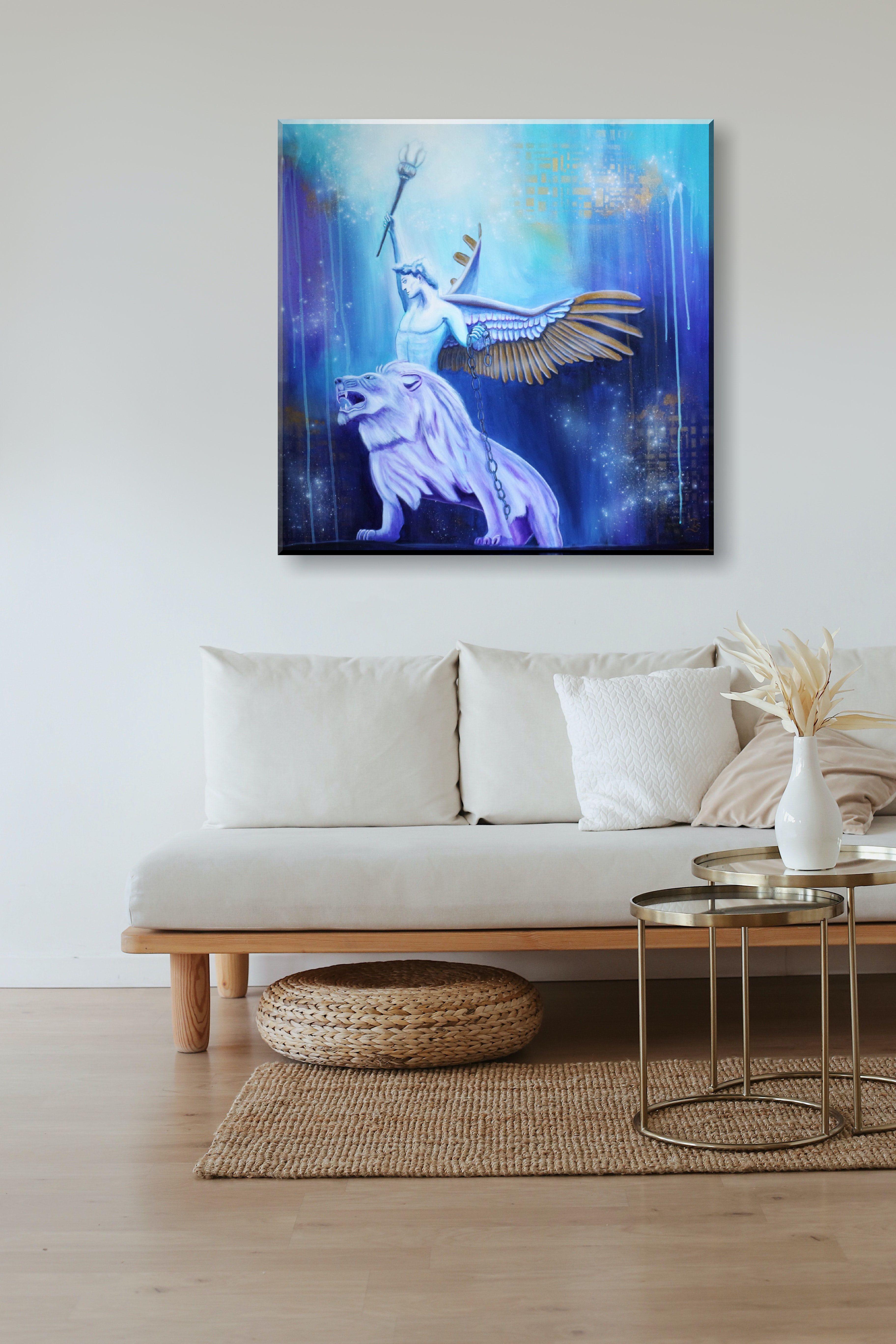 original engel gemalde auf leinwand 80x80 cm modernes wandbild mit lowe in 2020 angel art painting wall meinxxl drucken lassen