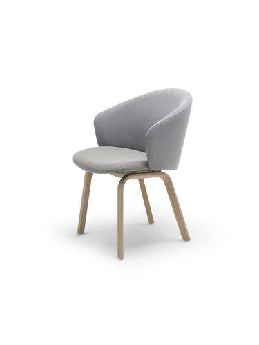 Chaise contemporaine tapissée avec accoudoirs en bois CONTOUR