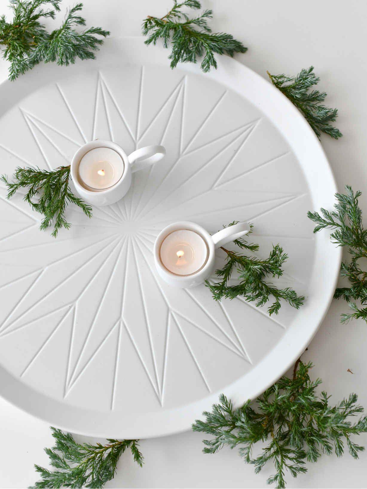 Porcelain Centrepiece Tray Decor, Tray decor, Candle tray