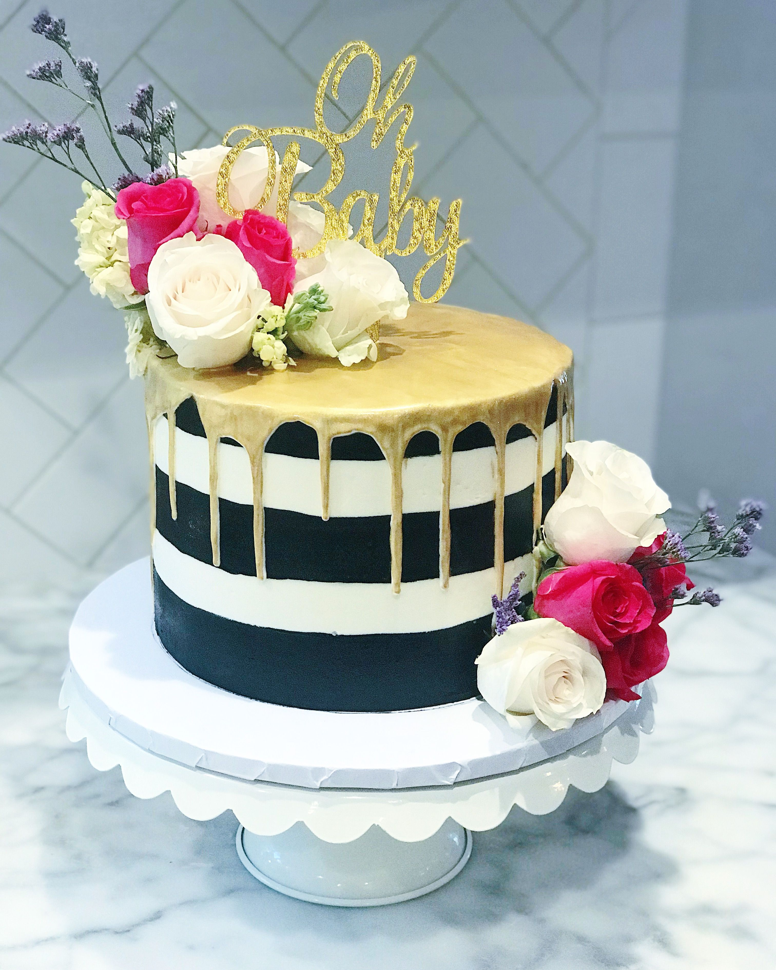 Kate Spade Inspired Baby Shower Cake Gold Drip, Black And