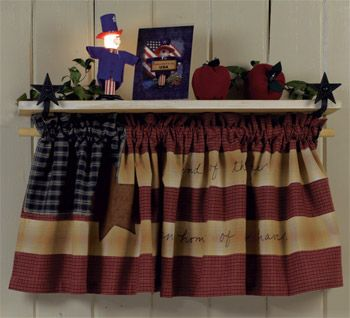 love this! never would have thought to had a valance under a shelf