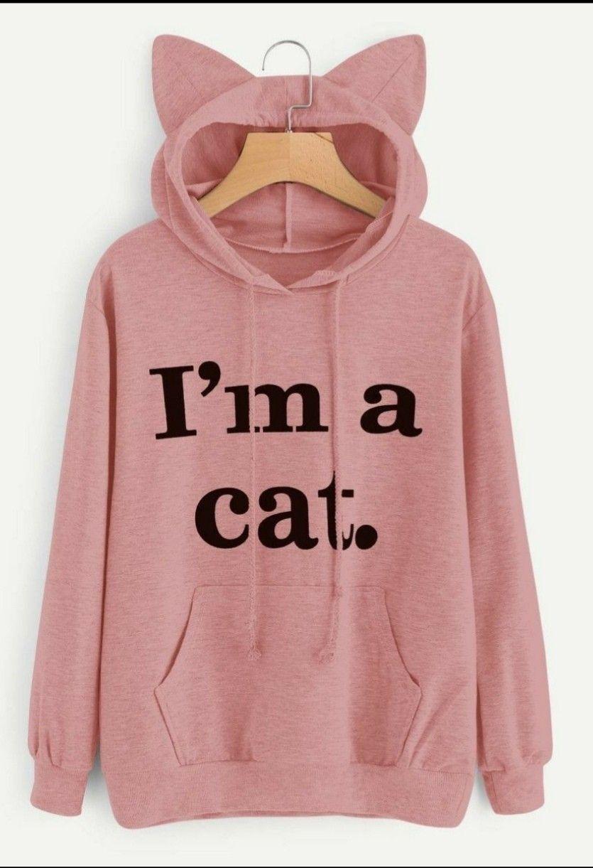 Blusa De Frio Moletom Orelha Gatinho Gato Cat Casaco Bugado