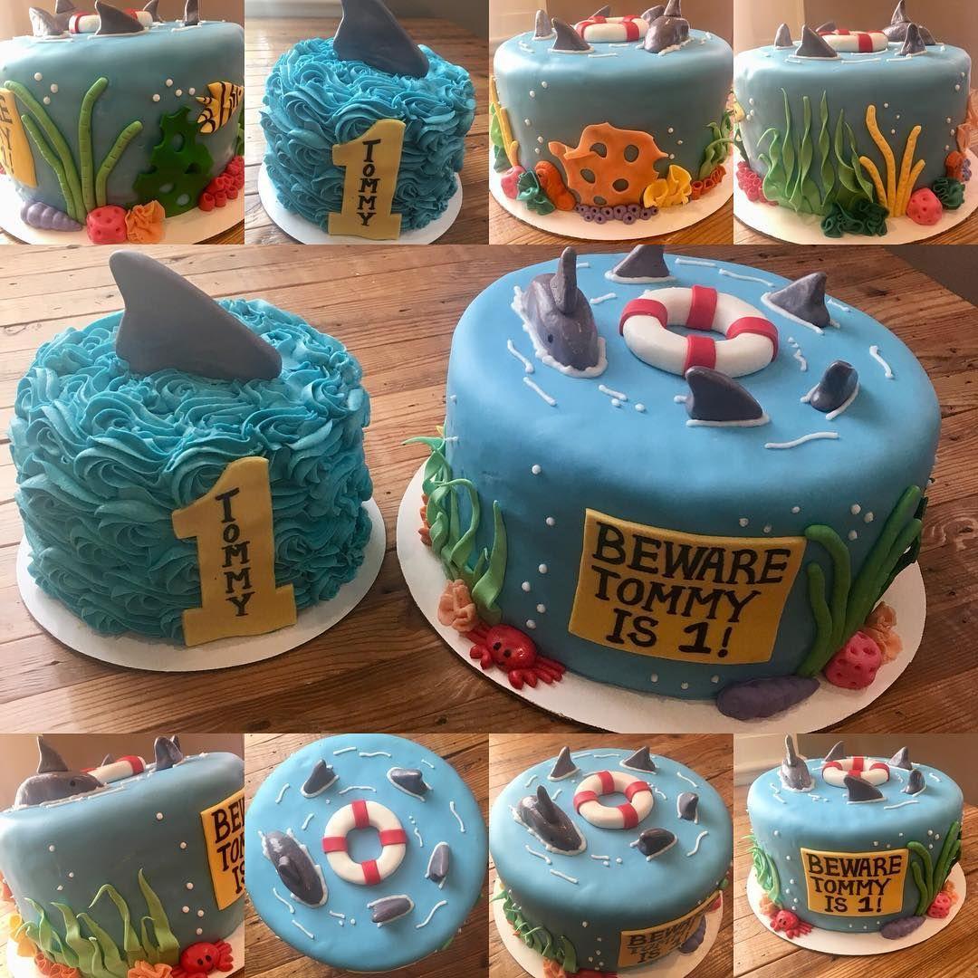Incredible Shark Themed 1St Birthday Cake Celebration Cake Fondantcake Personalised Birthday Cards Vishlily Jamesorg