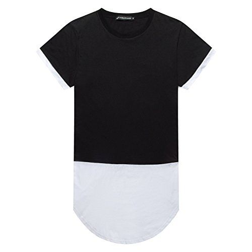 UNRESTRAINED Mens Hipster Hip Hop Rounded Hemline T-Shirt Extended Tee