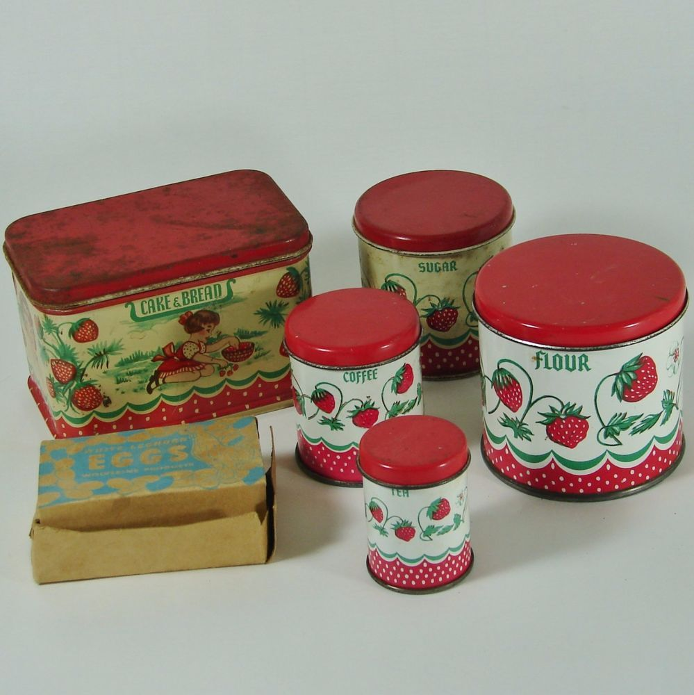 vintage wolverine strawberry child s toy kitchen canister set canister sets